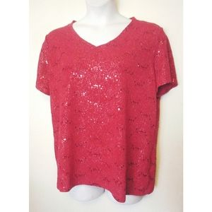 White Stag Red Sequin Rose Brocade Shirt Top XXL
